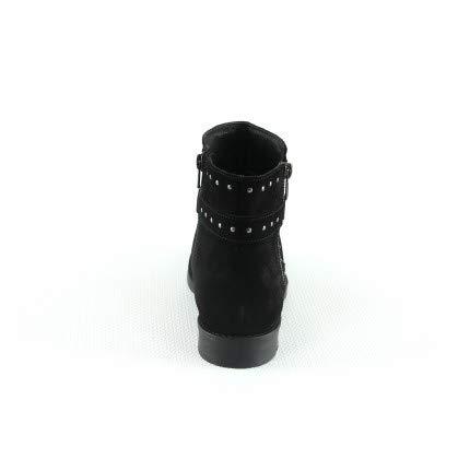 de Croute Noir clouté Zip Fermeture Boots Cuir Cuir gpxEw