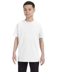 - Gildan boys Heavy Cotton T-Shirt(G500B)-WHITE-S