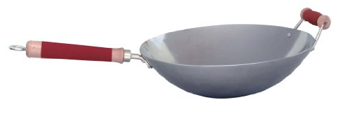 Concept Housewares 14 Inch Professional Carbon Steel Stir Fry Pan, Silicone Handle