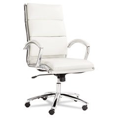 * Neratoli High-Back Swivel/Tilt Chair, White Stain-Resistant Faux Leather, Chrome