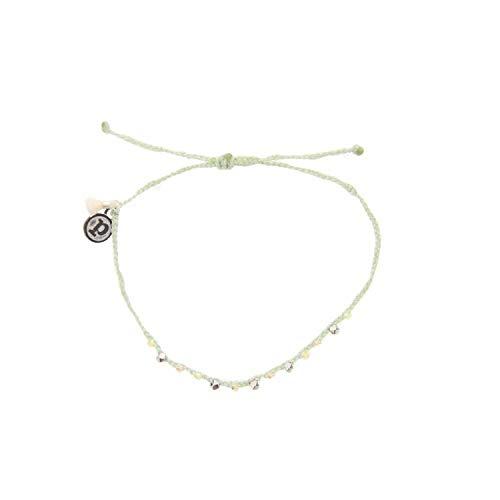 Pura Vida Silver Bead and Braid Mint Bracelet-100% Waterproof and Handmade w/Coated Charm, Adjustable - Braid Pure Silver