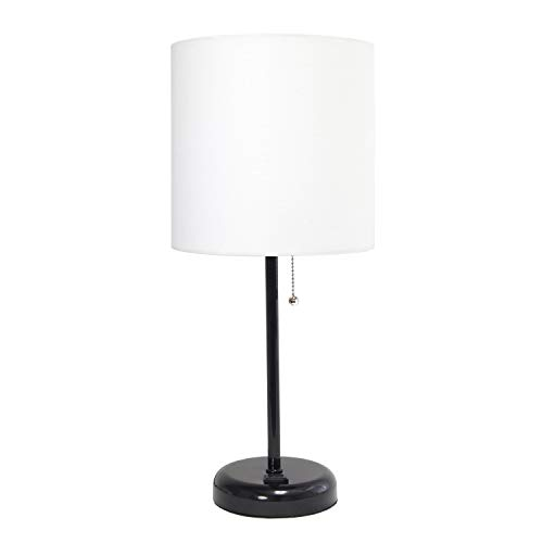 Limelights LT2024-BAW Stick Charging Outlet Table Lamp, White and Black (Table White Black Lamps And)