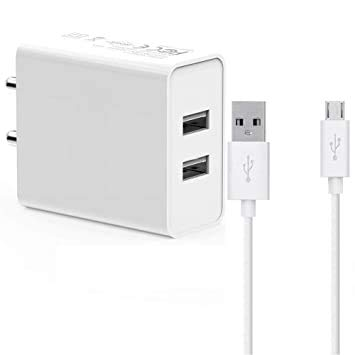TOSIND Dual Port USB Mobile Charger with USB Cable