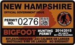 "New Hampshire Bigfoot Hunting Permit 2.4"" x 4"" Decal Sticker"