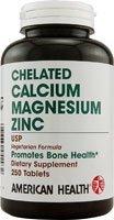American Health Calcium/Magnesium/Zinc Tablets, 250 Count (Calcium Chelated)