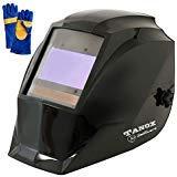 Digital Control Auto Darkening Solar Powered Welding Helmet ADF-210S, Solar Shade Lens, Tig Mig MMA, Adjustable Range 4/9-1316 Bonus 16'' Fire Retardant Welding Gloves, Carrying Bag and Spare Lens by TANOX