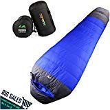 Arctic Monsoon Ultralight Sleeping Bag, 3 Seasons 32 Degree Down Mummy Bags, Lightweight Compression Sack for Adults, Camping, Backpacking, Hiking (Left Zipper) ()