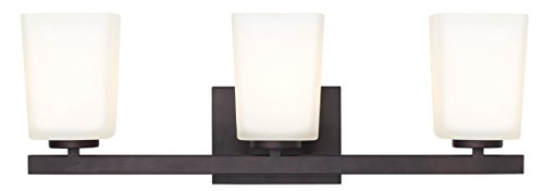 (Canarm LTD IVL472A03ORB Hartley 3 Light Vanity, Oil Rubbed Bronze with Flat Opal Glass)