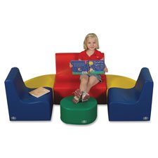 Tot Set, Chair/Loveseat, 18mos-4yrs, 3 Pc, 10'', BE/YW/RD, Sold as 1 Set