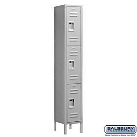 Salsbury Industries Assembled 3-Tier Standard Metal Locker with One Wide Storage Unit, 6-Feet High by 15-Inch Deep, Gray (15 Inch Wide Lockers)