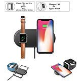 Nuoshawan 2 in 1 Qi Wireless Charging Pad Fast Charger Compatible iPhone X XS MAX XR 8 8 Plus, Samsung S8 S7 Edge S6 Edge+ Note 8, Nexus 5/6/7 iWatch Apple Watch Series 1/2/3/4(only apple watch4-40m