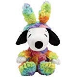 Hallmark Plush Rainbow Easter Snoopy with Bunny Ears in All-Over Colorful Rainbow Pattern -