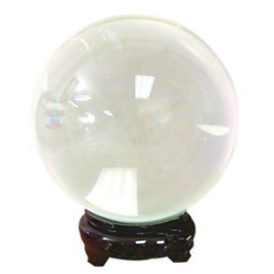 Pure Quartz Crystal Ball with Wood Stand - Clear 13 Cm - Beautiful As Display or a Powerful Feng Shui Tool