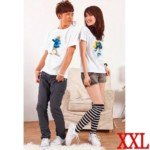 Lovely The Smurfs Style Cotton Lover's Short-Sleeve T-Shirt for Lady(1-Pack)-White/Size XXL