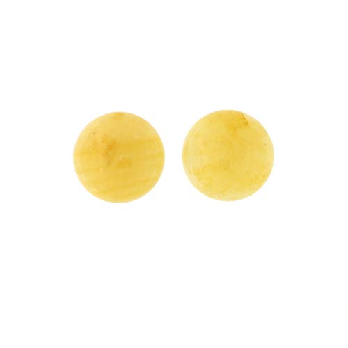 Solid Sterling Silver Rhodium Plated 16mm Yellow Jade Cabochon Button Stud Earrings