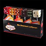 Sin City Suckers, The Original Dice Lollipops From Las Vegas (Pack of in 6 Flavors, Cherry, Coconut, Grape, Orange, Lemon & Lime)