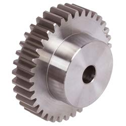 Spur gear made of steel 11SMnPb30 with hub module 0.5 25 teeth tooth width 4mm outside diameter 13.5mm