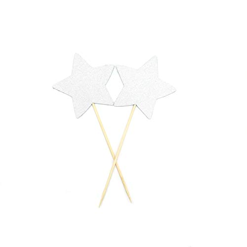 TooMeeCrafts Double Sided Silver Star Cake Topper Silver Glitter Star Wand Cake Topper Cupcake Topper Wedding Cupcake Toppers Set of 12