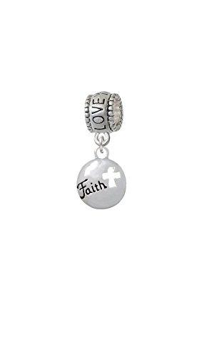 Cut Out Faith Charm (Silvertone Faith Disc with Cutout Cross - Love You More Charm Bead)