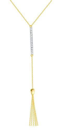 Prism Jewel G-H/SI1 Natural Diamond 17 Inches Delicate Designer Necklace, 14k Yellow Gold by Prism Jewel