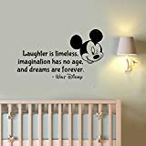 (Laughter is Timeless Wall Decal Walt Disney Quote Sticker Vinyl Lettering Inspirational Saying Art Mickey Mouse Head Decorations for Home Kids Room Bedroom Cartoon Decor)