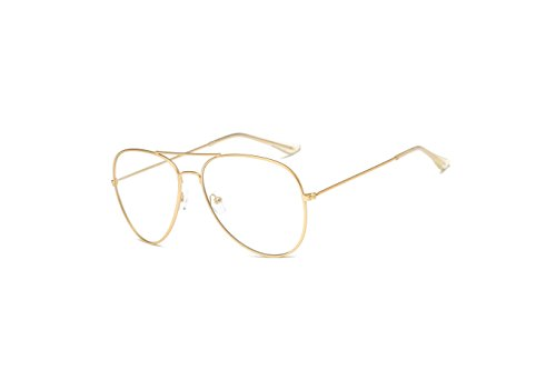Cramilo Non Prescription Matte Clear Classic Aviator - Prescription Gold Glasses Aviator