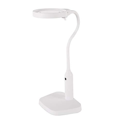 Manos Libres de Escritorio Lupa con 6 Luces LED Lupa Banco de Trabajo Lupa 2 HD Lente de Ampliación 2X 5X Manguera Metálica...