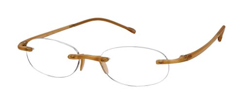 Gels - Lightweight Rimless Fashion Readers - The Original Reading Glasses for Men and Women - Frosted Gold (+2.00 Magnification Power)