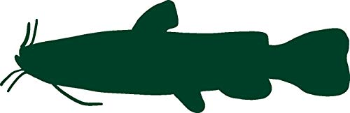 hBARSCI Flathead Catfish Vinyl Decal - 5 Inches - for Cars, Trucks, Windows, Laptops, Tablets, Outdoor-Grade 2.5mil Thick Vinyl - Dark Green