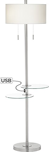 Two Column Table Lamp - Possini Euro Concierge Double Tray Floor Lamp with USB
