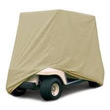 "Premium Products - BEIGE - Four Person Golf Cart Cover - Superior Heavy Duty 420 Denier Weight - Over sized 110"" L By 51"" W By 79"" H - TWO YEAR NO B.S. WARRANTY !!"