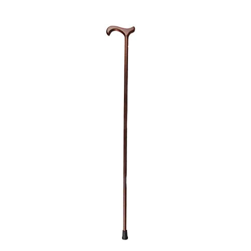 Huay Simple Solid Wood One-Handed Walking Stick,Integral Solid Wood British Style Gentleman Walking Stick,Lightweight Yellow Walking Stick at The Bottom of Durable Rubber A++