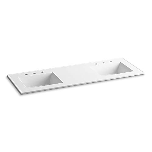 - KOHLER K-2789-8-G81 Ceramic/Impressions Rectangular Double-Bowl Vanity-Top Bathroom Sink, 8-Inch Widespread Faucet Holes, White Impressions , 61-Inch
