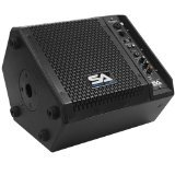 Seismic Audio Sax-8M-PW Powered Compact 8-Inch 2 Way Coaxial Floor/Stage Monitor with Titanium