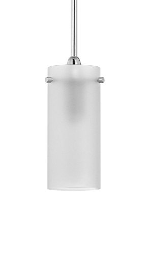 Effimero Stinting Stem Hung Frosted Glass Contemporary Pendant Light. Polished Chrome Fixture with Adjustable Hanging Height. Industrial Edison Present-day Style. UL Listed, Linea di Liara LL-P316F-PC