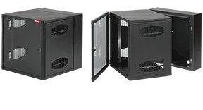 """Hoffman EWMW242425 AcessPlus Double Hinge Cabinet for Rackmount Equipment, Window Door, 24"""" x 24"""" x 25"""", Black"""