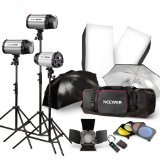 NEEWER 750W Professional Photographic Studio Strobe Flash Light Kit - Barn Door, Soft Box, Umbrellas, Stands, Lamps, Trigger & More (750w Light)
