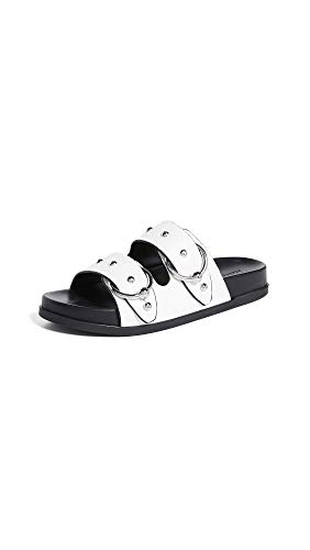 (Rebecca Minkoff Women's Vachel Double Strap Slides, White, 6.5 M US)