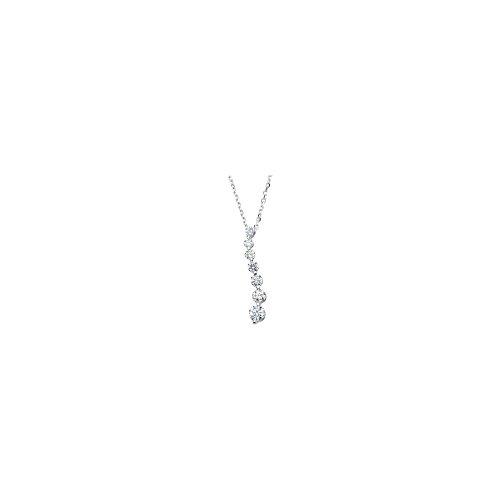 (14k White Gold 0.5 Dwt I1 Gh 18 Inch Polished Journey Diamond Necklace)