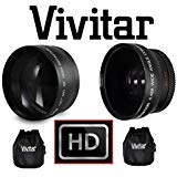 2-Pc HD Telephoto & Wide Angle Lens For Canon Vixia HF R72 R700 R70 R600 R62 R60 by Vivitar