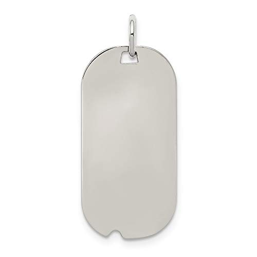 Sterling Silver Anti-Tarnish Treated Engraveable Dog Tag Polished Front, Satin Back Disc Charm (Air Force Insignia Pendant)