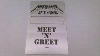 1991-92 Metallica Backstage Pass Meet 'N' Greet by RareFinds11