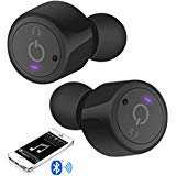 Bluetooth True Wireless In-Ear Earbuds Hands-Free Talking, Built-In Microphone, For Smartphone Tablet, Zippered Travel Case Included, LED Light Indicator, Noise Isolation
