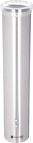 San Jamar C4150SS Stainless Steel Small Water Cup Dispenser with Hinged Flip Cap, 16