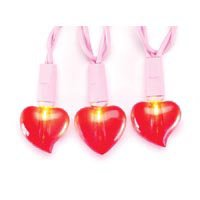 20ct Red Valentine Heart Light Set on Pink - Heart Set Light