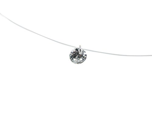 Martinuzzi Accessories Solitaire Pendant Necklace Crystal Pendant Necklace Floating Illusion Translucent Nylon Thread (Floating Illusion Necklace)