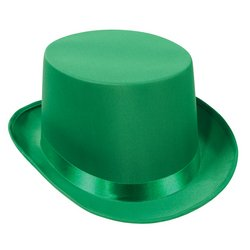 Green Satin Deluxe Top Hat (Full House Costumes)