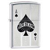 Zippo Jim Beam Ace of Spades High Polish Chrome Lighter, Silver, 5 1/2 x 3 1/2cm
