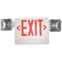 Light Alarms UQLXN500R- 2SQR Self Contained LED Exit w/ 2 Adjustable Heads