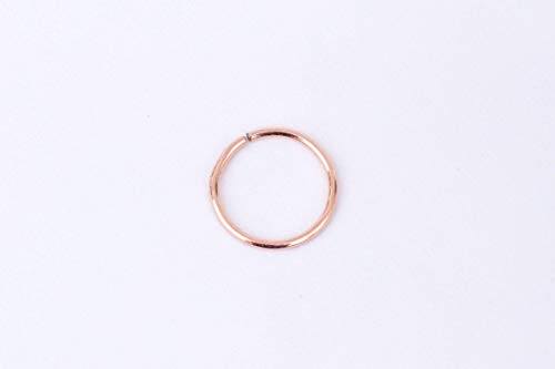 14k Rose Gold Nose Ring Hoop - Seamless Smooth Piercing Jewelry 8mm 5/16